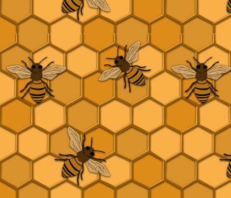 Monochrome bee alternate fabric by whitefox0186 on Spoonflower - custom fabric