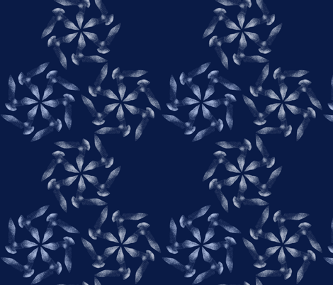flying birds in navy blue fabric by freevam on Spoonflower - custom fabric