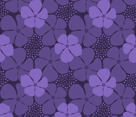 Monochrome Floral Ultra Violet fabric by theartofvikki on Spoonflower - custom fabric