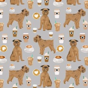 brussels griffon (smaller) grey coffee fabric cute coffees and dogs design