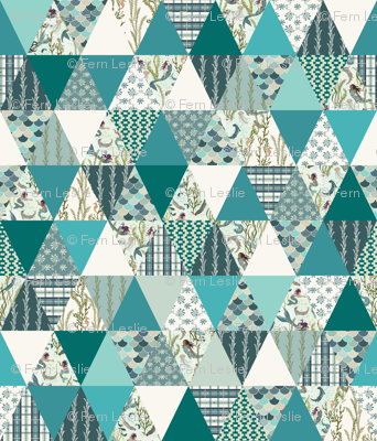 Mermaid - Turquoise, Teal, White - ROTATED, cheater quilt, whole cloth quilt, triangle quilt