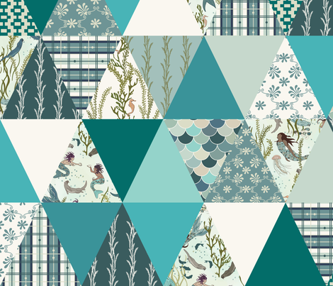 Mermaid - Turquoise, Teal, White - ROTATED, cheater quilt, whole cloth quilt, triangle quilt fabric by fernlesliestudio on Spoonflower - custom fabric