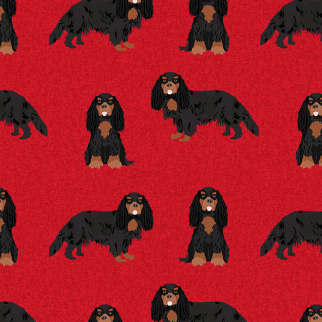 cavalier king charles spaniel black and tan pet quilt a collection coordinate fabric by petfriendly on Spoonflower - custom fabric