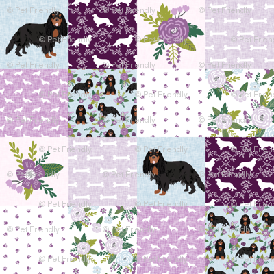 cavalier king charles spaniel black and tan pet quilt c collection cheater quilt