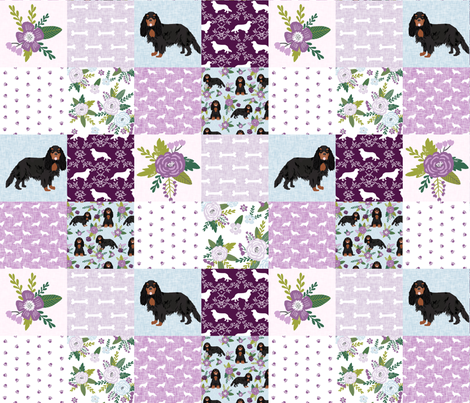 cavalier king charles spaniel black and tan pet quilt c collection cheater quilt fabric by petfriendly on Spoonflower - custom fabric