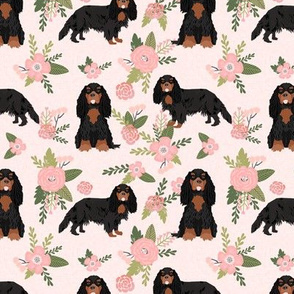 cavalier king charles spaniel black and tan pet quilt d collection floral
