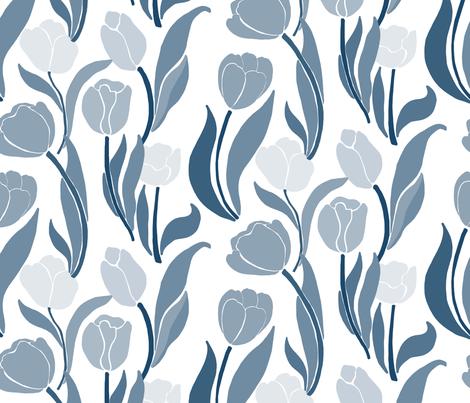 MONOCHROME_TULIPS fabric by yasminah_combary on Spoonflower - custom fabric