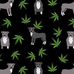 420 Pitbulls - dog pitbull, weed, pattern - black
