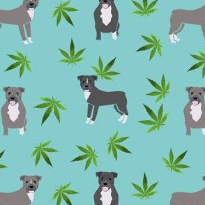 420 Pitbulls - dog pitbull, weed, pattern - blue