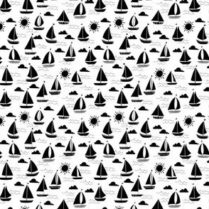 sailboat // sailboats bw black and white sea ocean design - small