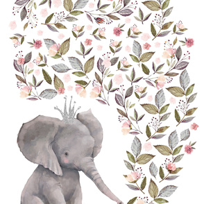 "54""x72"" Baby Elephant with Crown"