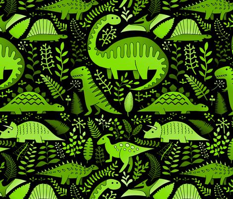 green dinos fabric by analinea on Spoonflower - custom fabric