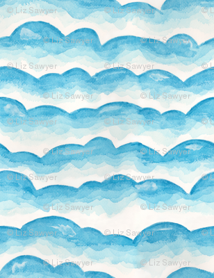 Watercolor Cloud Layers in Blue // monochromatic watercolor cloud stripes ombre gradient layers baby blue fabric