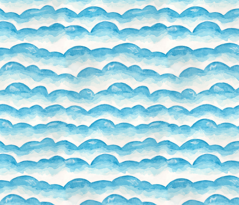 Watercolor Cloud Layers in Blue // monochromatic watercolor cloud stripes ombre gradient layers baby blue fabric fabric by liz_sawyer_design on Spoonflower - custom fabric