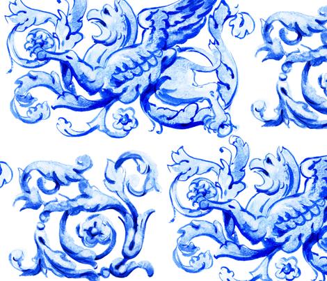 ultramarine griffin fabric by ninanaina on Spoonflower - custom fabric