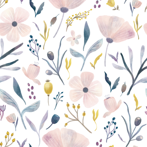 Delicate Pastel Flowers fabric by noondaydesign on Spoonflower - custom fabric