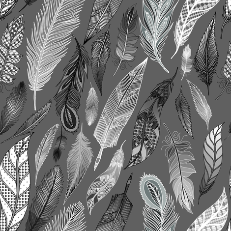 Feathers Falling on a Gray Day fabric by irishvikingdesigns on Spoonflower - custom fabric