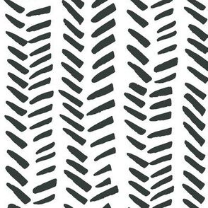 Handdrawn Herringbone - black and white