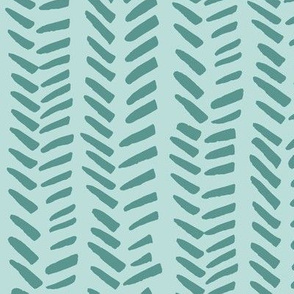 Handdrawn Herringbone - teal on blue