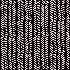Handdrawn Herringbone - pink on black