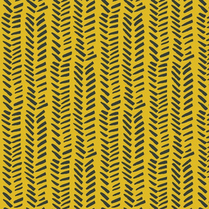 Handdrawn Herringbone - black on mustard