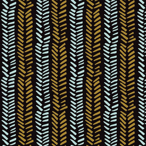 Handdrawn Herringbone - blue and mustard on black