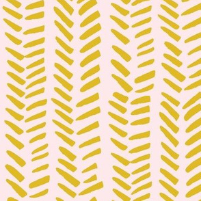 Handdrawn Herringbone -  mustard on pink