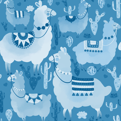 Alpacas and cacti  fabric by elena_naylor on Spoonflower - custom fabric