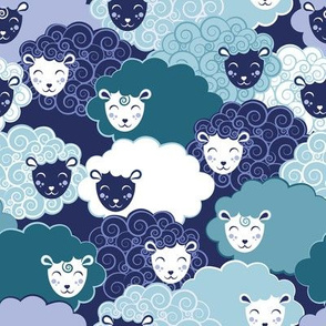 Sweet dreams zzz // teal and blue sheep