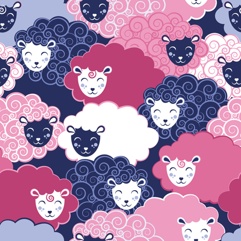Sweet dreams zzz  // blue and pink sheep fabric by selmacardoso on Spoonflower - custom fabric