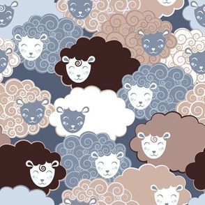 Sweet dreams zzz  // grey and brown sheep