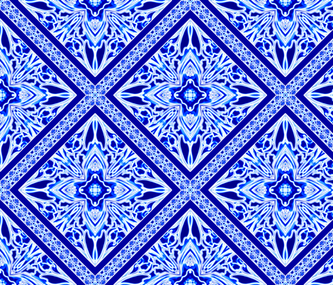 Blue and White Tile With Narrow Border on the Diagonal fabric by creative8888 on Spoonflower - custom fabric