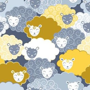 Sweet dreams zzz  // grey and yellow sheep