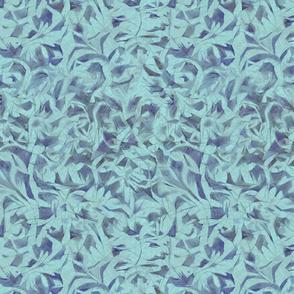 Tossed Leaves -cyan blue