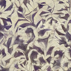 Tossed Leaves indigo-taupe