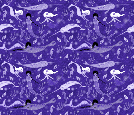 Ocean faery fabric by un_temps_de_coton on Spoonflower - custom fabric
