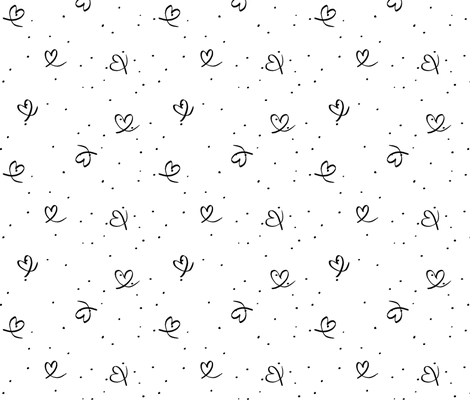 Black hearts and dots fabric by pip_pottage on Spoonflower - custom fabric