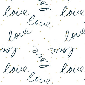 Handwritten love in Navy with mustard dots