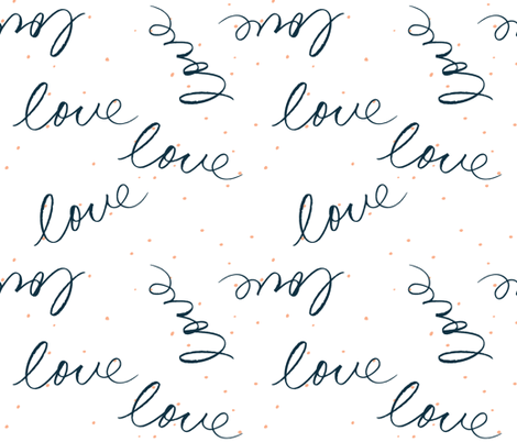Handwritten love in Navy with pink dots fabric by pip_pottage on Spoonflower - custom fabric