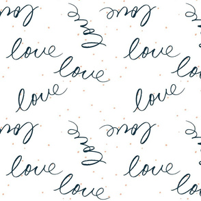 Handwritten love in Navy with pink dots