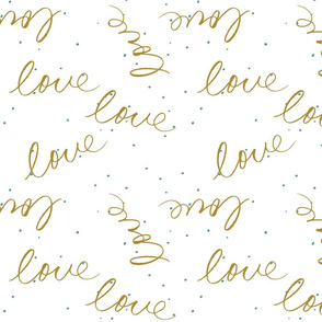 Handwritten love in Mustard with teal dots