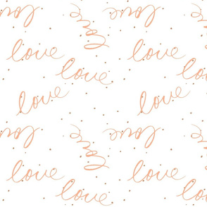 Handwritten love in coral pink with taupe dots
