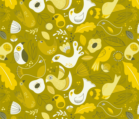 Monochromatic-Birds-of-a-Feather-Gold-02 fabric by heavenstobetsydesign on Spoonflower - custom fabric