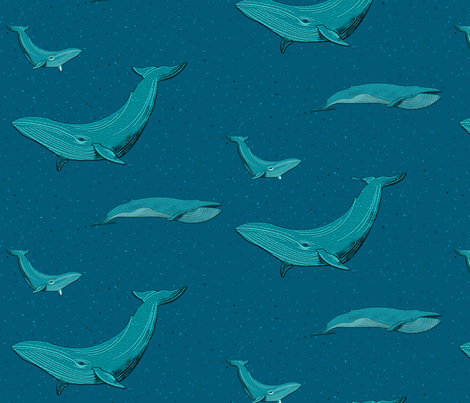 Blue whales fabric by quilts_by_a_dude on Spoonflower - custom fabric