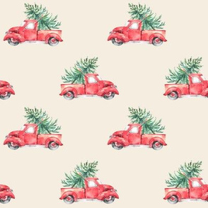 "4"" Christmas Vintage Trucks // White Linen"
