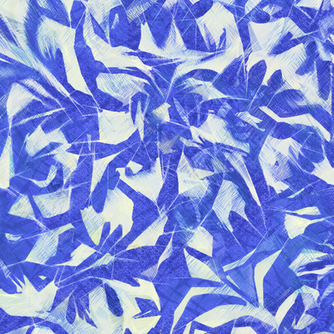 Tossed leaves-electric blue and white fabric by wren_leyland on Spoonflower - custom fabric