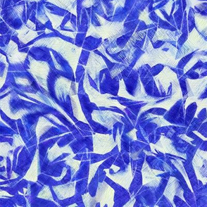 Tossed leaves-electric blue and white