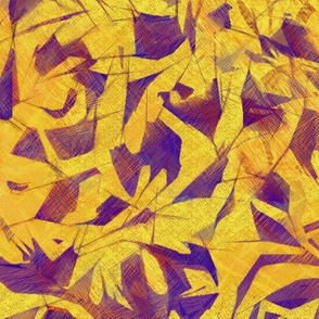 Tossed Leaves Violet and Yellow