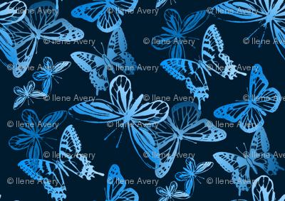Midnight Flyers/Butterflies Monochrome Turquoise