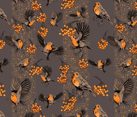 playful robins fabric by moyra on Spoonflower - custom fabric